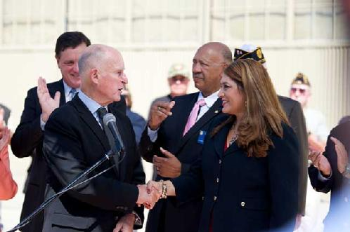 picture:  Gov Brown and Hon. Sharon Quirk-Silva, Chair of Veterans Affairs for CA Assembly, AB-1453, UMAVA, Veterans State Cemetery in Orange County